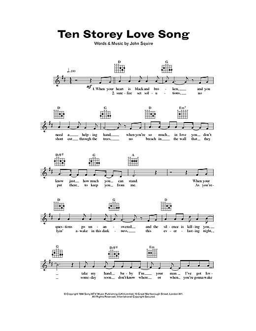 Ten Storey Love Song (Lead Sheet / Fake Book)