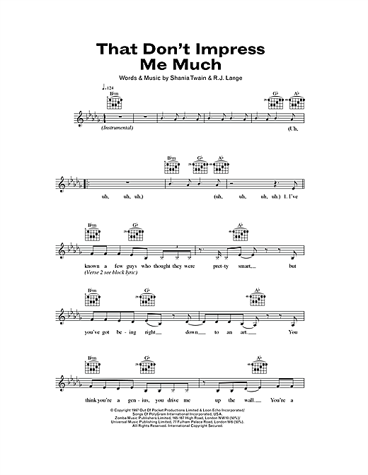 That Don't Impress Me Much Sheet Music