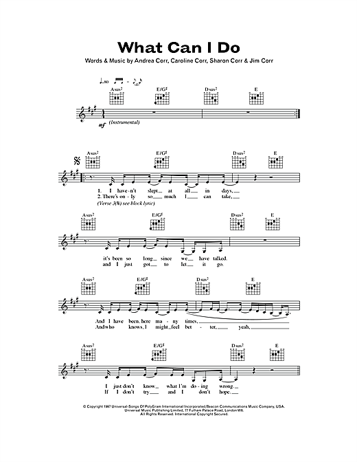 What Can I Do (Lead Sheet / Fake Book)