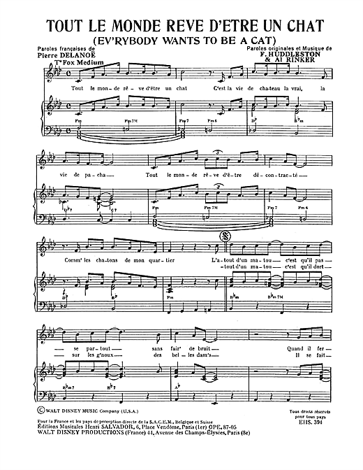 Tout Le Monde Reve D'etre Un Chat Sheet Music