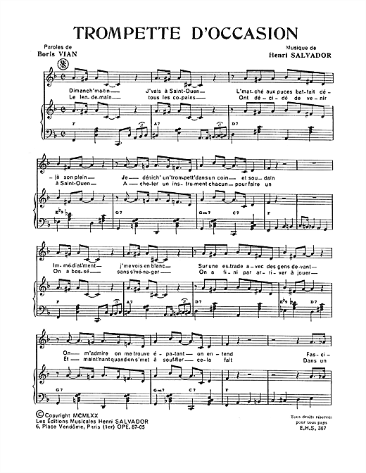 Trompette D'occasion Sheet Music