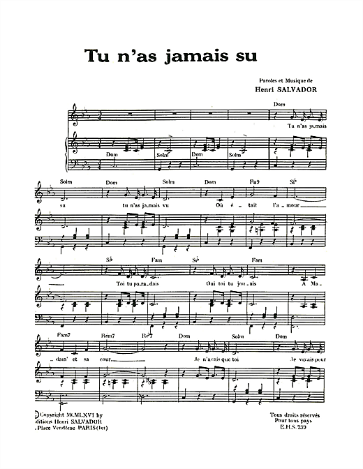 Tu N'as Jamais Su Sheet Music