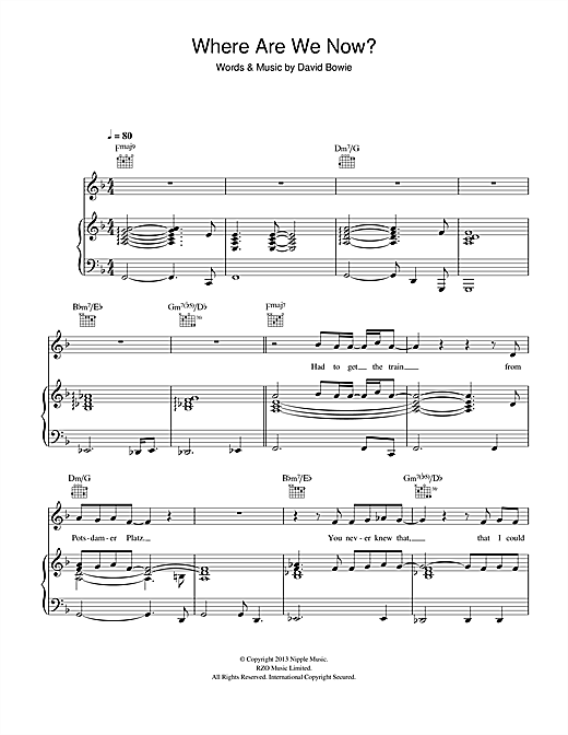 Where Are We Now? Sheet Music