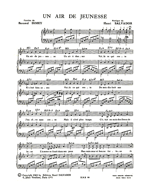 Partition piano Un Air De Jeunesse de Henri Salvador - Piano Voix