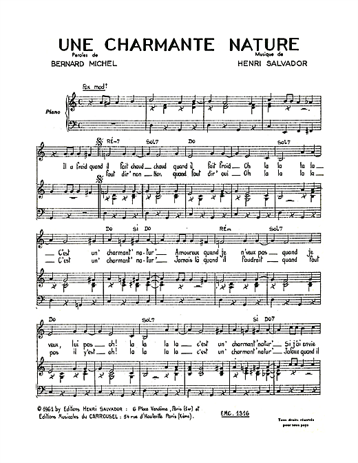 Charmante Nature Sheet Music