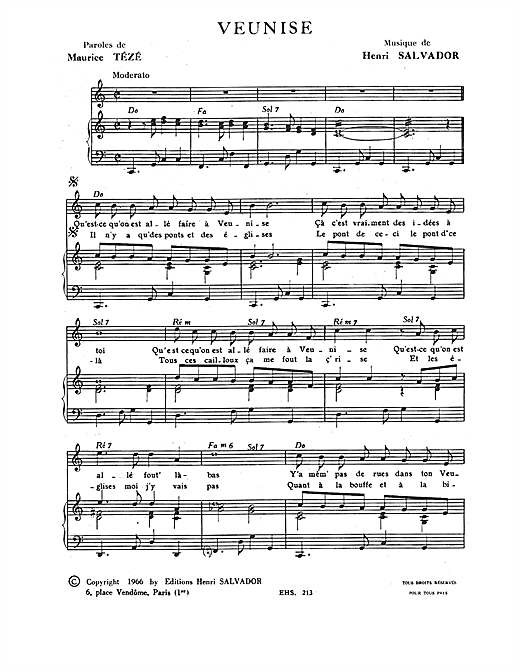 Veunise Sheet Music