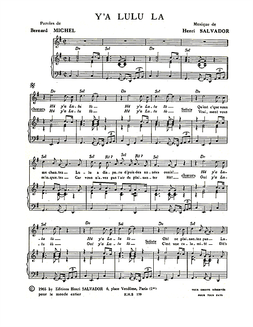Y A Lulu La Sheet Music