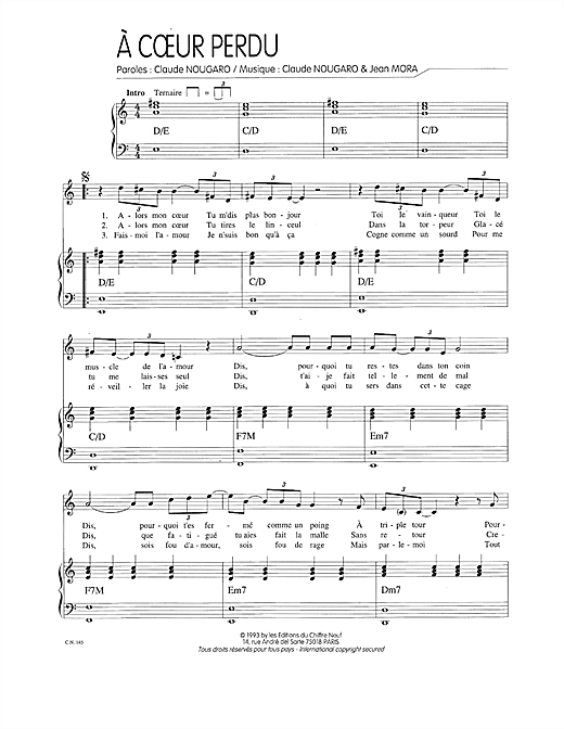 A Coeur Perdu Sheet Music