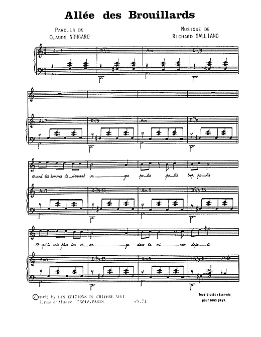 Allee Des Brouillards Sheet Music