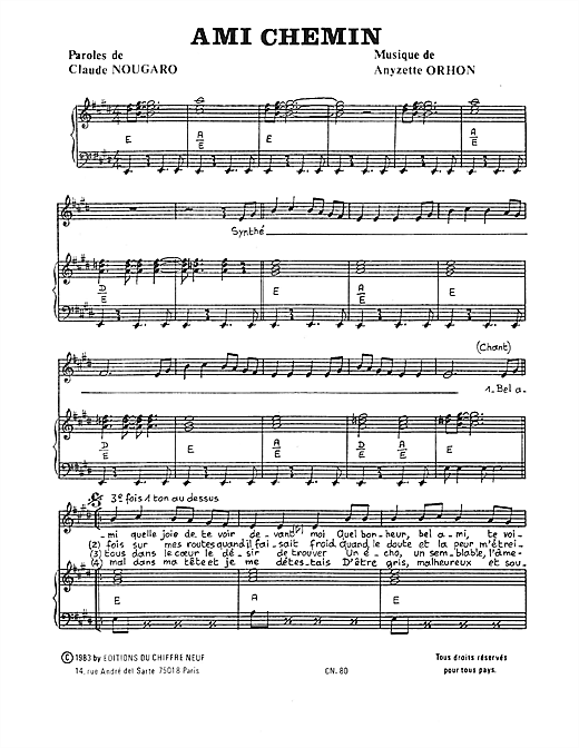 Ami Chemin Sheet Music