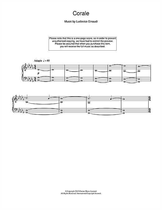 Corale Sheet Music