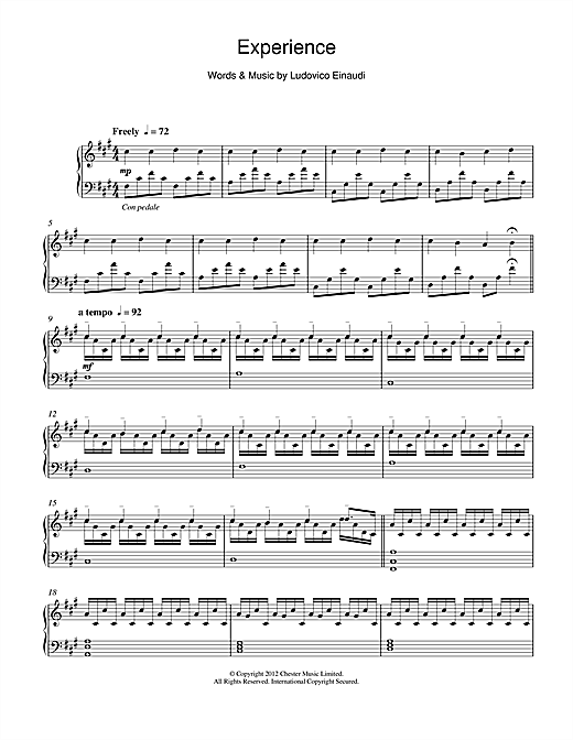 Experience Sheet Music