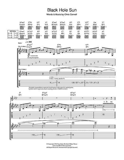 Black Hole Sun Guitar Tab by Soundgarden (Guitar Tab – 115632)