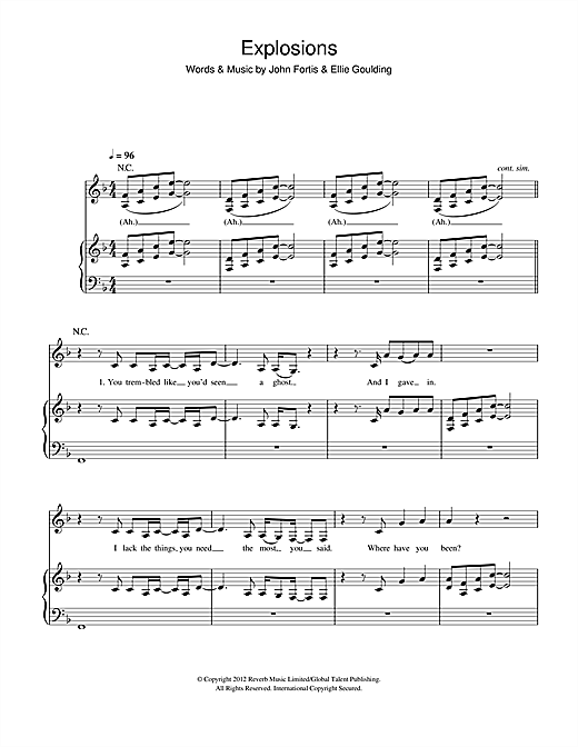 Explosions Piano Sheet Music By Ellie Goulding Piano Voice Guitar