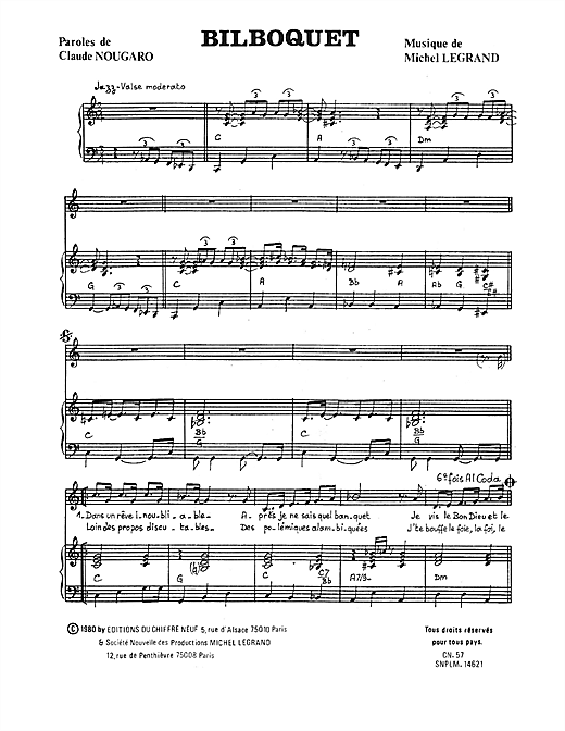 Bilboquet Sheet Music