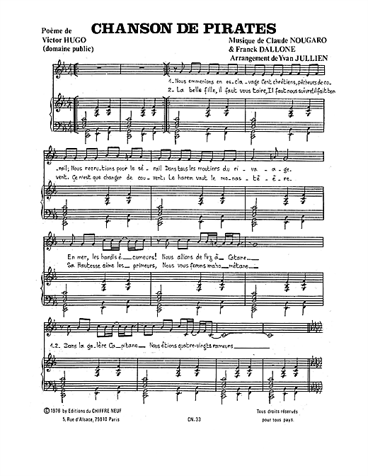 Chanson De Pirates Sheet Music