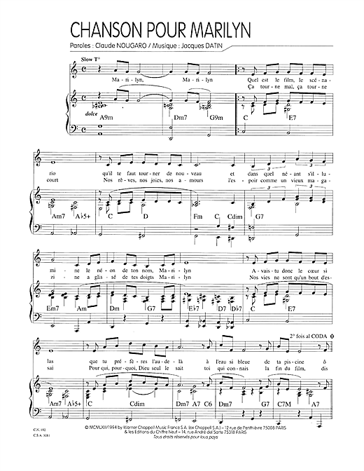 page one of Chanson Pour MarilynASALTTEXT