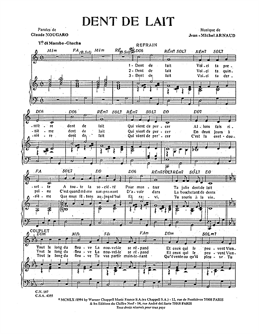 Dent De Lait Sheet Music
