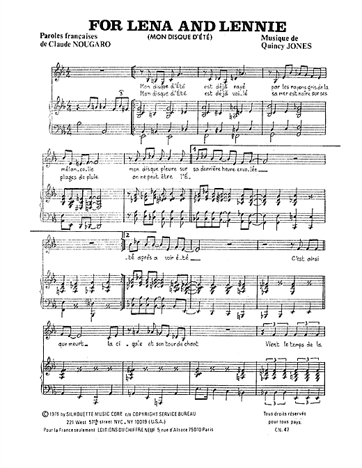 Partition piano For Lena And Lenny de Claude Nougaro - Piano Voix