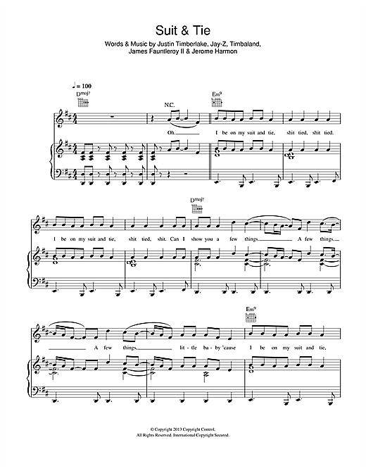 Suit & Tie (feat. Jay-Z) Sheet Music