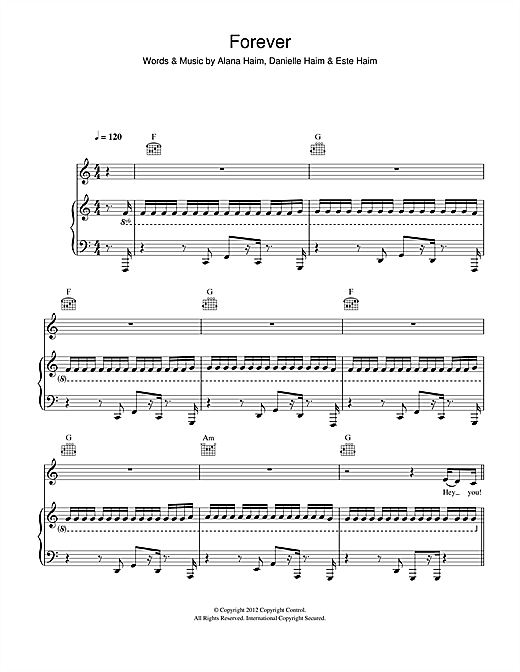 Forever (Piano, Vocal & Guitar (Right-Hand Melody))