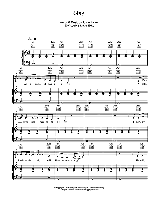 Piano stay rihanna piano chords : Stay sheet music by Rihanna (Piano, Vocal & Guitar – 115689)