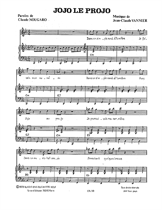 Jojo Le Projo Sheet Music