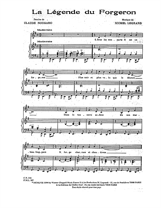 Legende Du Forgeron Sheet Music