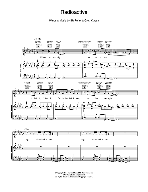 Radioactive sheet music by Rita Ora (Piano, Vocal u0026 Guitar (Right-Hand Melody) u2013 115704)