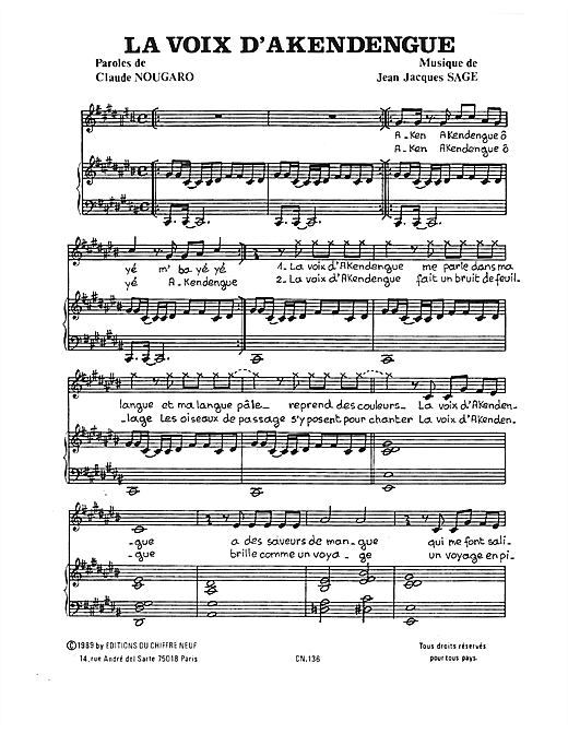 Voix D'akendengue Sheet Music