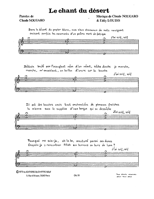page one of Chant Du DesertASALTTEXT