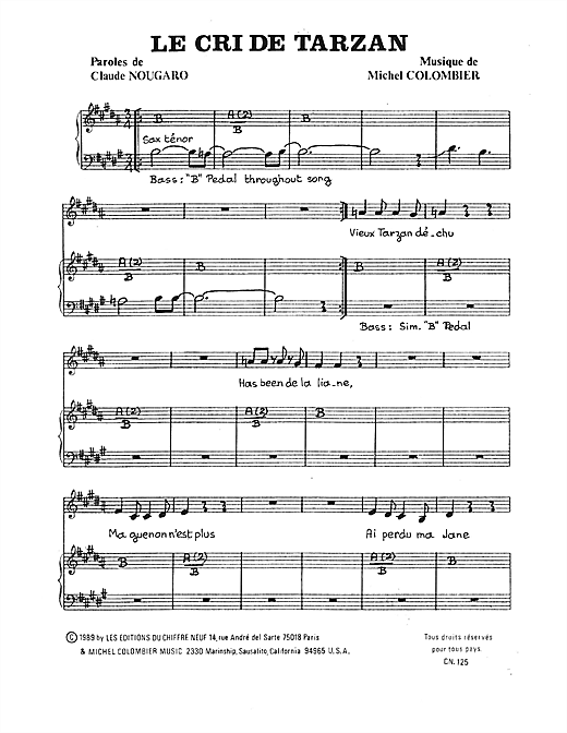 Cri De Tarzan Sheet Music