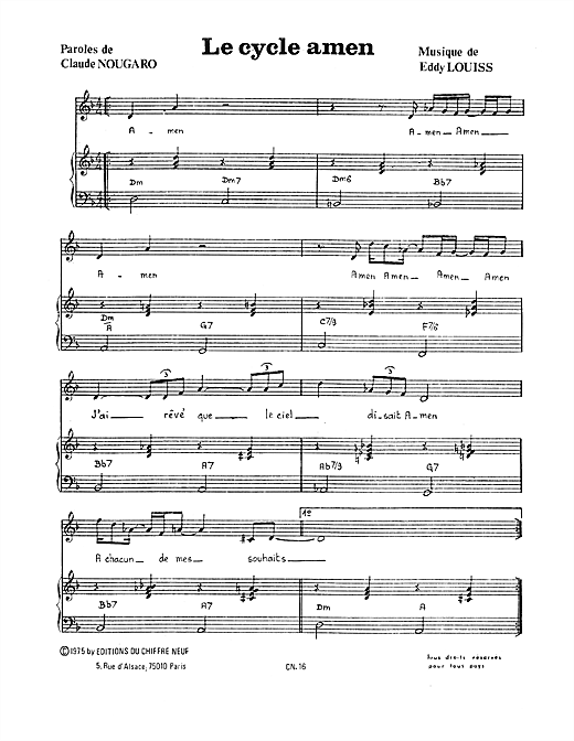 Cycle Amen Sheet Music