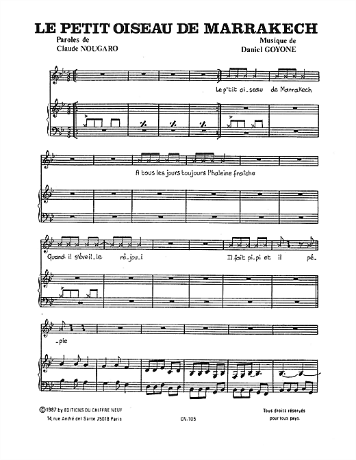 Petit Oiseau De Marrakech Sheet Music