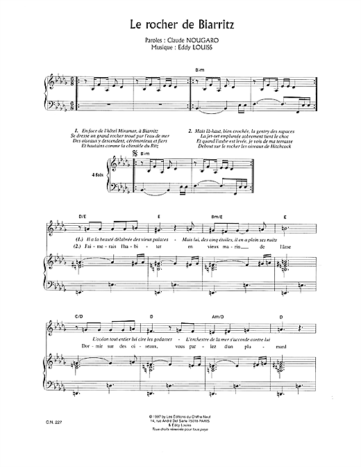 Rocher De Biarritz Sheet Music