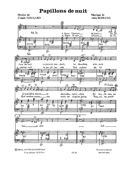 Papillons De Nuit Sheet Music