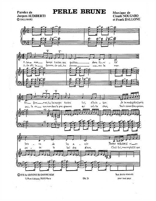 Perle Brune Sheet Music