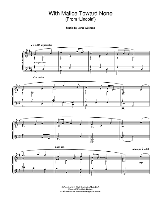Partition piano With Malice Toward None (From 'Lincoln') de John Williams - Piano Solo