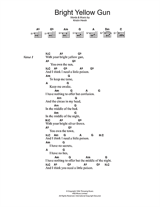 Bright Yellow Gun sheet music by Throwing Muses (Lyrics & Chords ...