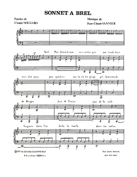Sonnet A Brel Sheet Music
