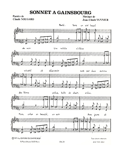 Sonnet A Gainsbourg Sheet Music