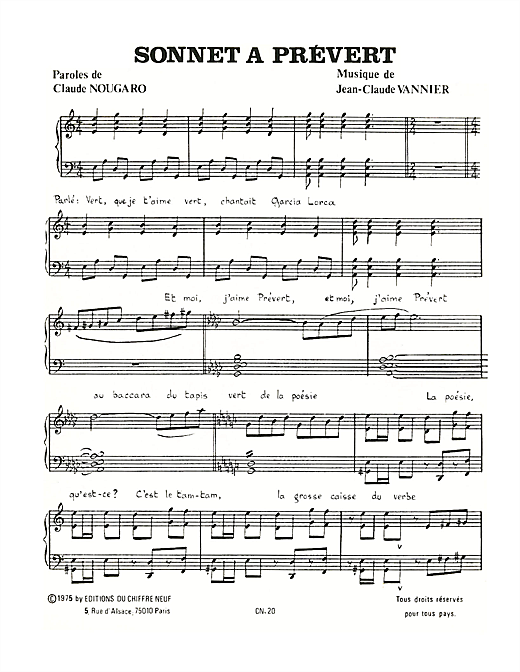 Sonnet A Prevert Sheet Music