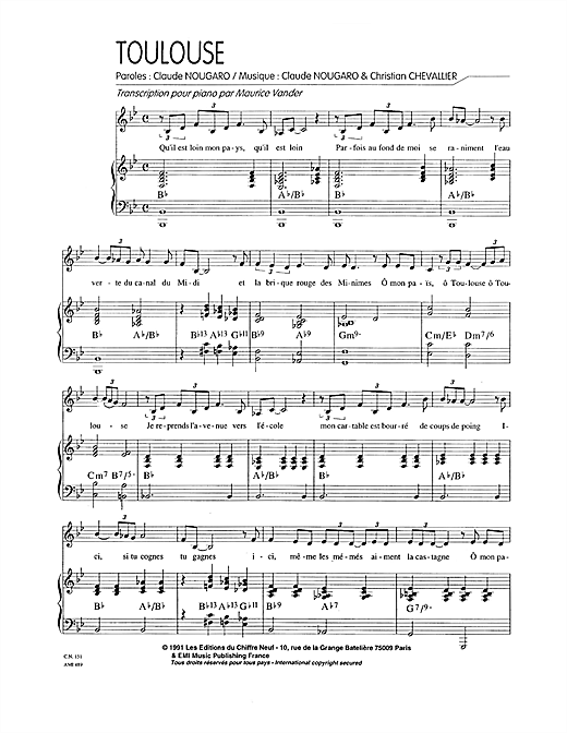 Toulouse Sheet Music