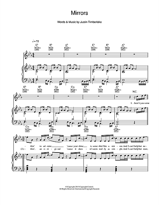 mirrors sheet music by justin timberlake piano vocal