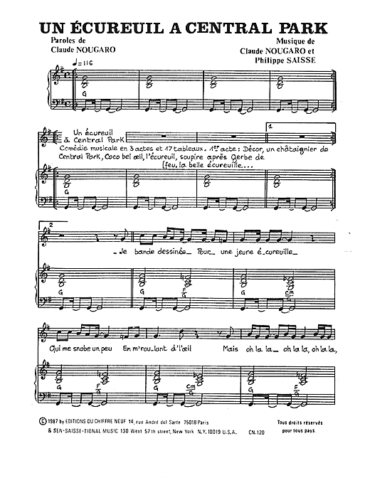 Ecureuil A Central Park Sheet Music