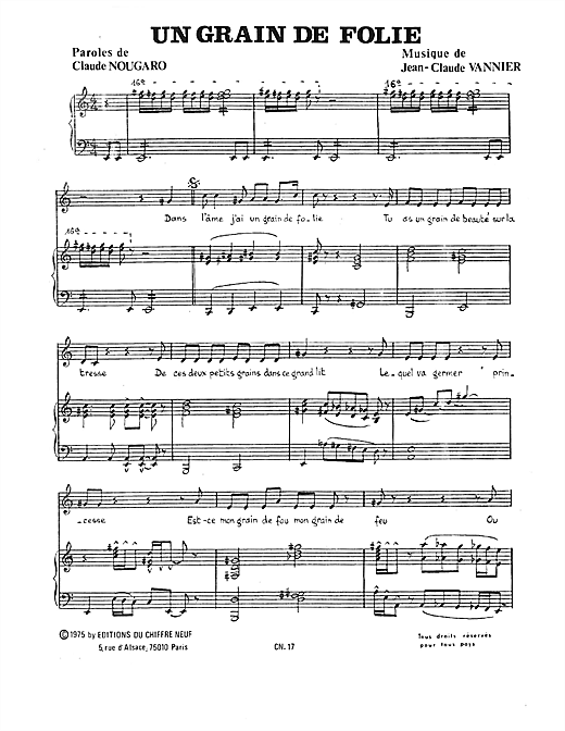 Grain De Folie Sheet Music