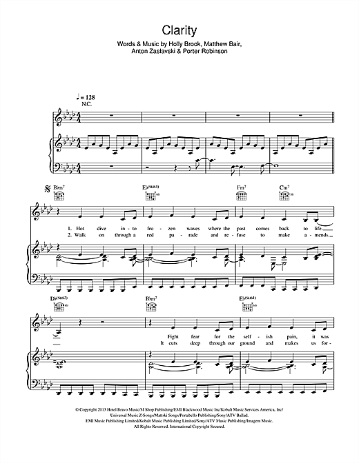 Clarity Sheet Music