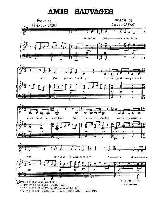 Amis Sauvages Sheet Music