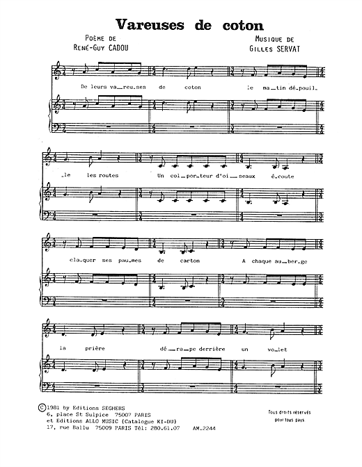 Vareuses De Coton Sheet Music