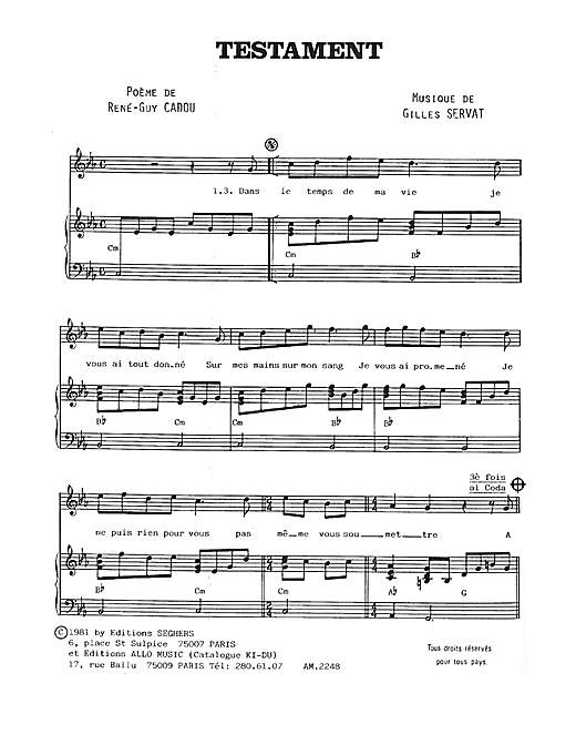 Testament Sheet Music